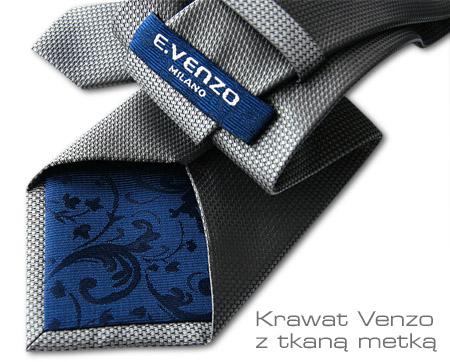 Krawat z tkaną metką - podszewka granatowa