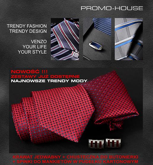 krawat jedwabny + spinki do mankietów + poszetka (wypustka)