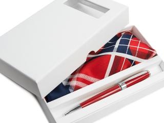 Apaszka + długopis + pudełko kartonowe