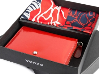 Silk scarf + leather wallet 4