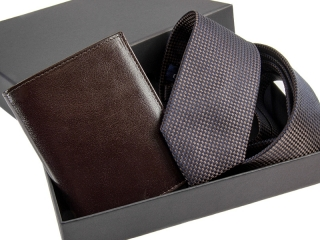 Zestaw Dowolny krawat + portfel skórzany w pudełku -2