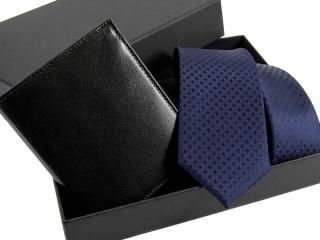 Zestaw Dowolny krawat + portfel skórzany w pudełku -3