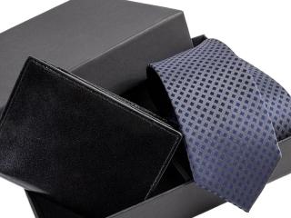 Zestaw Dowolny krawat + portfel skórzany w pudełku -1