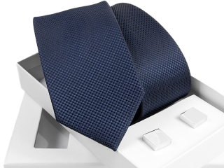 Zestaw krawat + spinki do mankietów w pudełku Venzo-B005