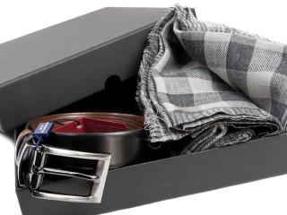 Zestaw Szal wełniany + Pasek skórzany w pudełku - 3
