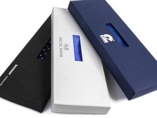 black, white, navy blue packaging
